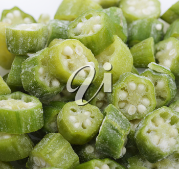 Frozen Raw Okra Slices,Close Up