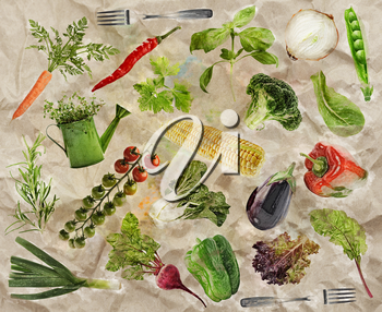 Fresh Raw Vegetarian Food Background