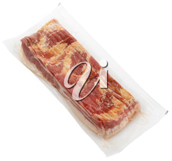 Raw Bacon Package Isolated On White Background