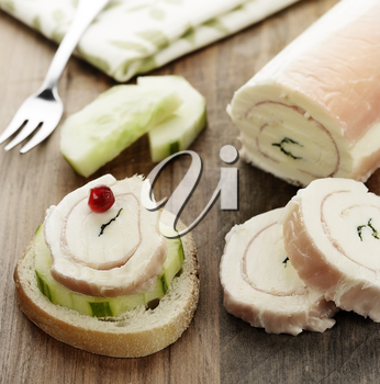 Appetizer with Rolled Mozzarella Cheese and Cucumber
