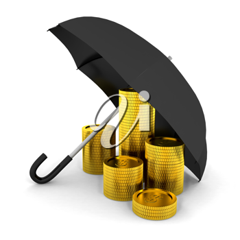 Royalty Free Clipart Image of Coins Under an Umbrella