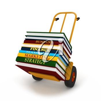 Royalty Free Clipart Image of Textbooks on a Delivery Cart