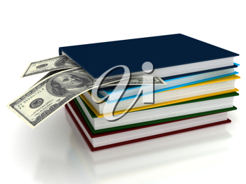 Royalty Free Clipart Image of a Stack of Books and Money