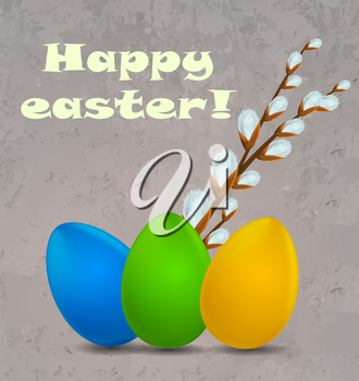 Happy easter background with eggs. Vector illustration
