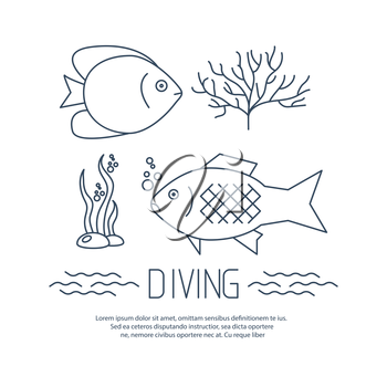 Diving icon with fishs and seaweed. Vector