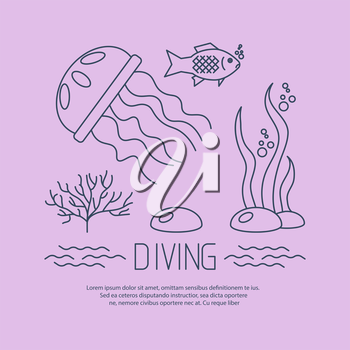 Diving icon with jellyfish and seaweed. vector