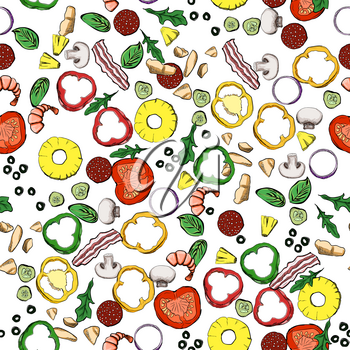 Seamless food ingredients vector pattern. For your design