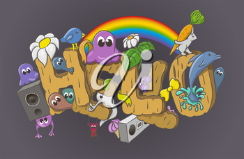 Cartoon style Hello word with cute monsters. Vector