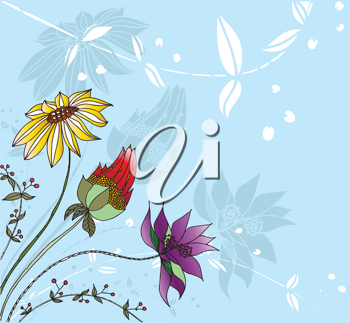 Royalty Free Clipart Image of a Blue Floral Background With Three Different Flowers in the Corner