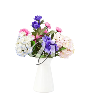 Colorful bouquet pink and blue flowers in white decorative bucket