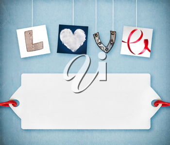 Love word made of four different objects, valentine's day concept, free space for your text