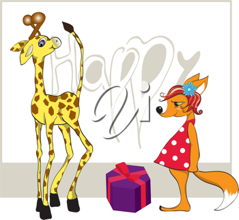 Royalty Free Clipart Image of a Giraffe and a Fox With a Gift