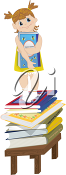 Royalty Free Clipart Image of a Girl on a Chair and Stack of Books