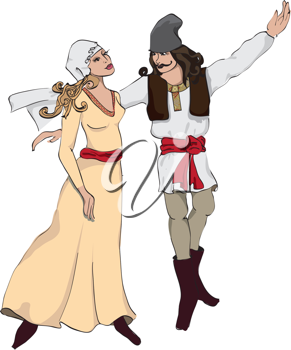 Royalty Free Clipart Image of a Couple in Traditional Clothes