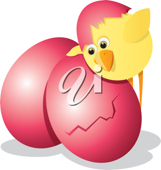 Royalty Free Clipart Image of a Chick and an Easter Egg