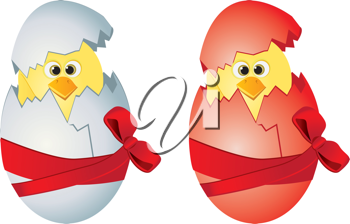 Royalty Free Clipart Image of Chicks in Easter Eggs