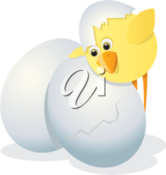 Royalty Free Clipart Image of a Chicken and Eggs