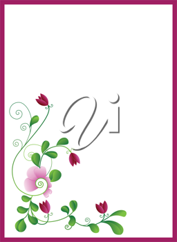 Royalty Free Clipart Image of a Frame With a Flower in the Corner