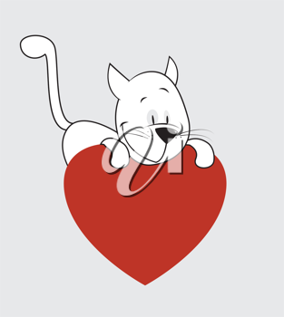 Royalty Free Clipart Image of a Cat Valentine