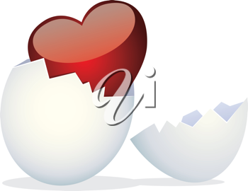 Royalty Free Clipart Image of a Heart Hatching from an Egg