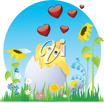 Royalty Free Clipart Image of a Chick With Hearts in Flowers