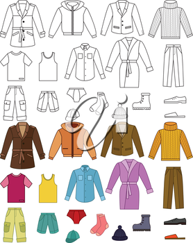 Mens clothing collection - color and outline illustrations