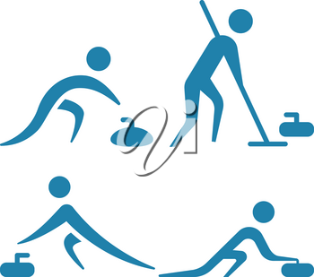 Winter sport icon - Curling icons set