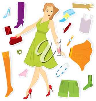 Royalty Free Clipart Image of a Girl With Clothes