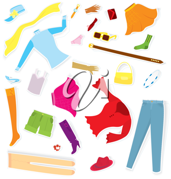 Royalty Free Clipart Image of a Bunch of Girls Clothes