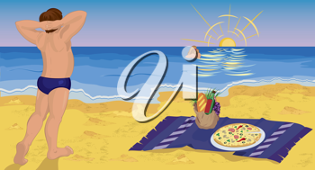 Royalty Free Clipart Image of a Man at the Beach