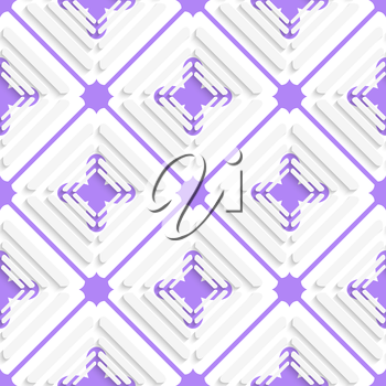 Abstract 3d seamless background. Diagonal offset squares and purple net pattern with cut out of paper effect.