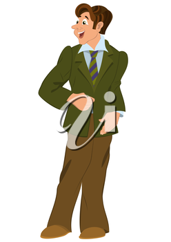 Illustration of cartoon male character isolated on white. Retro hipster man standing in green jacket.