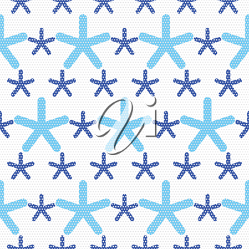 Seamless abstract background. Blue snowflakes textured with gray dots.