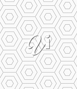 Seamless stylish dotted geometric background. Modern abstract pattern made with dotts. Flat monochrome design.Gray dotted hexagons.