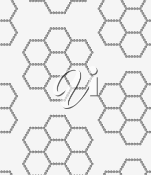 Stylish 3d pattern. Background with paper like perforated effect. Geometric design.Perforated paper with hexagons forming flowers.