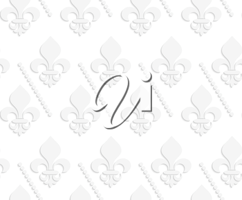 White 3D solid Fleur-de-lis with dots.Seamless geometric background. Modern monochrome 3D texture. Pattern with realistic shadow and cut out of paper effect.