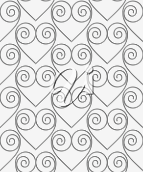 Perforated swirly hearts in grid.Seamless geometric background. Modern monochrome 3D texture. Pattern with realistic shadow and cut out of paper effect.