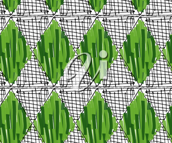 Artistic color brushed green and hatched diamonds.Hand drawn with ink and marker brush seamless background.Abstract color splush and scribble design.