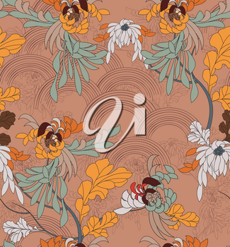 Aster flower with yellow leaves on brown arcs.Hand drawn with ink seamless background.Creative hand made brushed design.Flower pattern Japanese motives.Repainting vintage background for fashion fabric