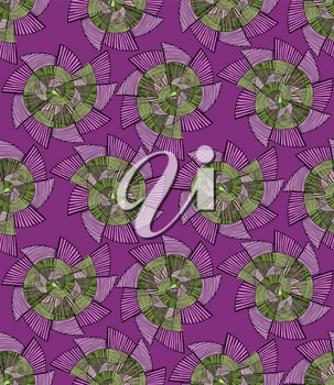 Striped pinwheels purple and green.Hand drawn with ink seamless background. Creative handmade repainting design for fabric or textile. Geometric pattern with striped circular shapes. Vintage retro col