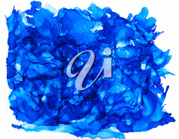 Blue splashes big.Abstractl background hand drawn with bright inks and watercolor paints. Color splashes and splatters create uneven artistic modern design.
