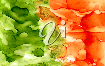 Abstract bright textured green and orange.Colorful background hand drawn with bright inks and watercolor paints. Color splashes and splatters create uneven artistic modern design.