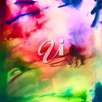 Abstract red green smooth with texture.Colorful background hand drawn with bright inks and watercolor paints. Color splashes and splatters create uneven artistic modern design.