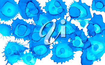 Paint spots blue uneven on white.Colorful background hand drawn with bright inks and watercolor paints. Color splashes and splatters create uneven artistic modern design.