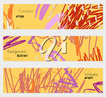 Scribbles marks doodles yellow banner set.Hand drawn textures creative abstract design. Website header social media advertisement sale brochure templates. Isolated on layer