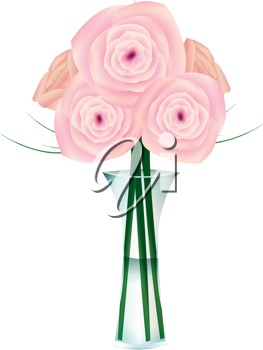 Royalty Free Clipart Image of a Vase of Pink Roses