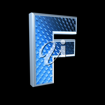 abstract 3d letter with blue pattern texture - F