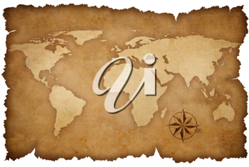 Royalty Free Photo of a World Map and Compass