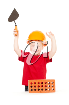 Royalty Free Photo of a Boy With a Trowel