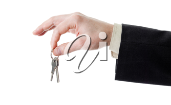 Royalty Free Photo of a Businessman Holding Keys